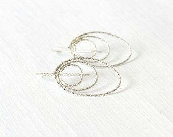 Sterling Silver Hammered Hoop Earrings Boho Chic Minimalist Jewelry Silver Teardrop Dangle Earrings