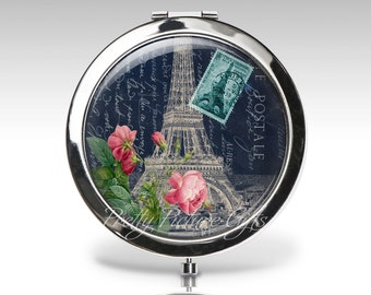 Personalized Compact Mirror | Eiffel Tower Roses | Navy Magnifying Mirror | Paris France | Compact Mirror Party Favor | Bridesmaid gift  C64