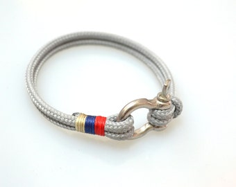 Nautical Sailing Bracelet  Stainless steel  Shackle-Paracord Bracelet-Mens Bracelet-Rope Bracelet-GREY 3