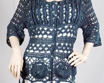 Beautiful Cotton Crochet Jacket Cardigan