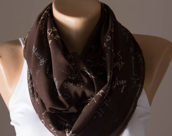 Brown Infinity Scarf,Summer Infinity Scarf,Spring Scarf,Text Scarf,Lightweight,Scarves For Women,Fashion Accessories,Gift,Womens Scarves