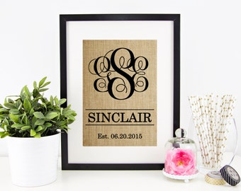 Personalized Wedding Gift for Couple | Rustic Wedding Decor | Gift for Bride Burlap Monogram Wedding Gift Last Name Establish Vine Monogram