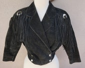 Black Leather Jacket, Fringed Leather Jacket, Cropped with Fringe, Ghost Town, Bohemian Clothing, Boho Leather Jackte, Black Suede Jacket
