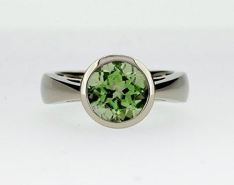Peridot ring, engagement ring, white gold, gold engagement, green, peridot engagement, bezel, solitaire, green gemstone, cathedral, unique