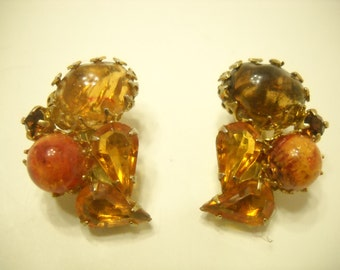 Vintage Autumn Colored Clip Earrings (8654) Gorgeous Shades