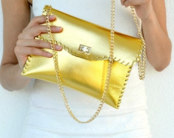 Gold leather purse / Handmade leather bag with gold metal chain / Leather clutch