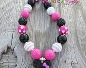 Minnie Mouse Disney Inspired Black hot pink  white Bubblegum Necklace Bracelet set