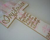 Hand painted personalized girls pink and gold wall cross child's cross baptism cross baptism gift godchild christening
