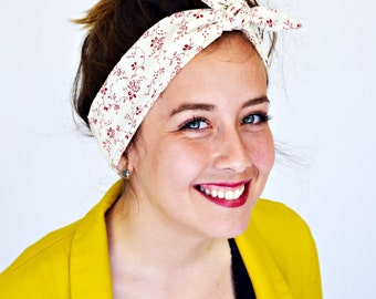 Rockabilly headband. Vintage look. Burgundy red. Red floral print. Granny florals. Pin up style. Flower power. Dolly bow. Rosie wrap. Hair.