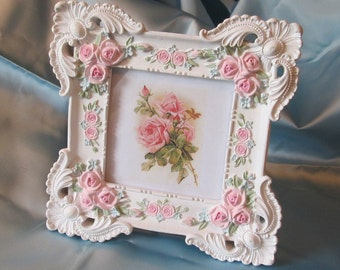 """White Ornate Square PHOTO FRAME with Handpainted Pink Roses & Florals~Tabletop~4"""" x 4""""~RESIN~Shabby~Cottage~Chic"""