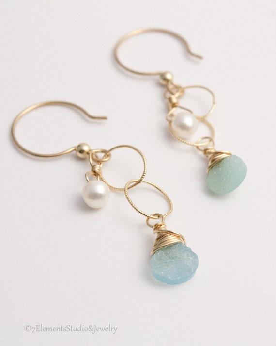 Druzy Quartz, Pearl and 14K Gold Fill Earrings, Aqua-blue Druzy Quartz Briolette Earrings