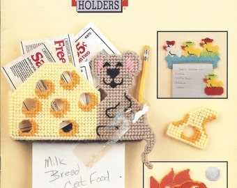 Annie's Plastic Canvas Pattern Message Holders -  Mouse & Cheese, Raccoon Magnet, Duck Magnet, Crab Magnet, Dog Magnet, Rabbit, Toucan