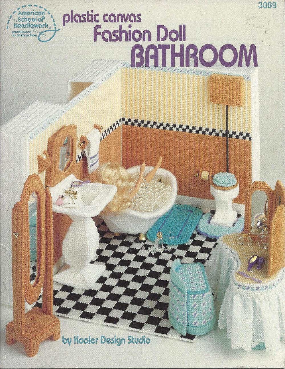 Fashion Doll Bathroom Plastic Canvas Pattern American School Of Needlework Barbie Bathroom