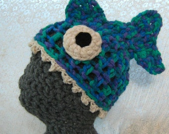 Crazy Fish Hat 'Brain Food' Crocheted Unisex Adult, Super Cosy, Soft, Stretchy, Quirky, Silly Gift. Available Now In Blue/Green/Purple Multi