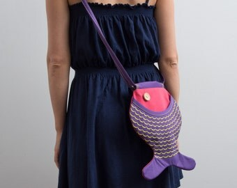 Fish Purse Color Block Hot Pink Purple Bag Hipster Bag Kidswear Ocean Inspired Summer Fish Bag Kawaii Cute Bag Beach Accessories Funny Bag