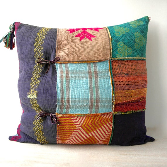 ON SALE 30 percent off extra large kantha cushion by fairlyworn
