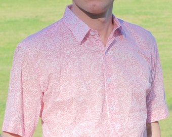Mens shirt pink print on white base separate detailing inside collar. Short sleeves. VERY light weight 100% cotton