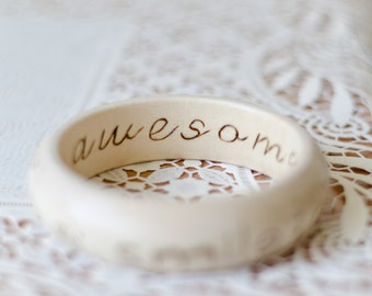 Made to order - Smile More You Are Awesome - Wood Quote Bangle - Woodburned Inspiration Bracelet - Boho Mehndi Pyrography Jewelry