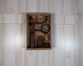 Vintage Box Cobbler Antique Tools Wall Art Primitive Assemblage