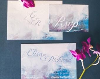 Watercolor Wedding Invitation - Blue Lavender Watercolor Invitation - Wedding invitation Watercolor {Wickita design - blue version}