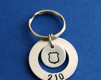 Police Officer Keychain, Personalized Badge Number with Badge Stamp, Customized Gift for Cop or Wife, Mom, Daughter, HEROES, Thin Blue Line