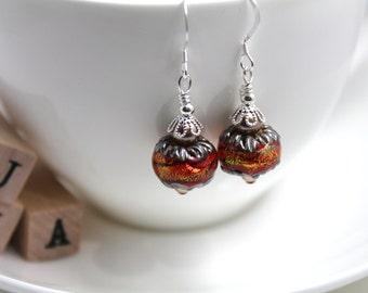 Lampwork glass bead/Swarovski/Sterling silver - Shimmer earrings