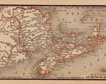 RARE Size New BRUNSWICK Canada Map Nova Scotia Map Antique MINIATURE 1888 Map  Plaindealing 6036