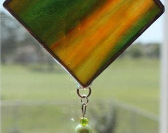 Green and Amber beaded Suncatcher