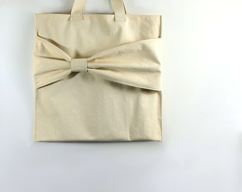 Cute Tote Bag with Bow, Modern Handbag, Canvas Grocery Bags, Market Tote with Stylish Touch, Trendy Shopping Sack