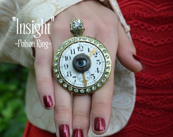 Steampunk Ring, Poison Ring, Pocket Watch, Propeller, Compass, Clock face, Adjustable Ring By AlchemyDivine