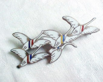 Danish Sterling Silver and Glass Enamel Flying Swans Brooch  - 'The Nordic Swans' - Erik Magnussen - Vintage 1940 WW11 Scandinavian Jewelry