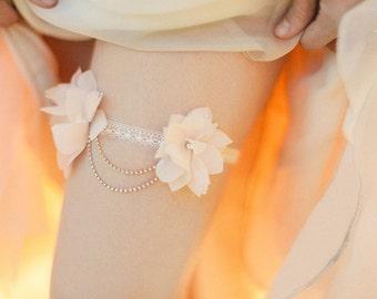 Chiffon Bridal Garter - Floral Bridal Garter - Wedding Garter - Pink Bridal Garter - Lace Bridal Garter - Crystal Garter
