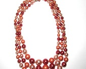 vintage pink beads / chunky bead necklace / triple strand pearls beads