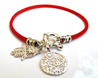 Kabbalah red string sterling silver shema prayer hamsa star of David silver charm bracelet life saver for good luck and protection talisman