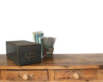 Vintage Industrial Metal Drawer Army Green Storage