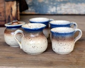 Demitasse Coffee or Tea Cups, Creamer & Sugar Set - Rustic Stoneware Pottery, Handcrafted - Vintage Home Kitchen Decor