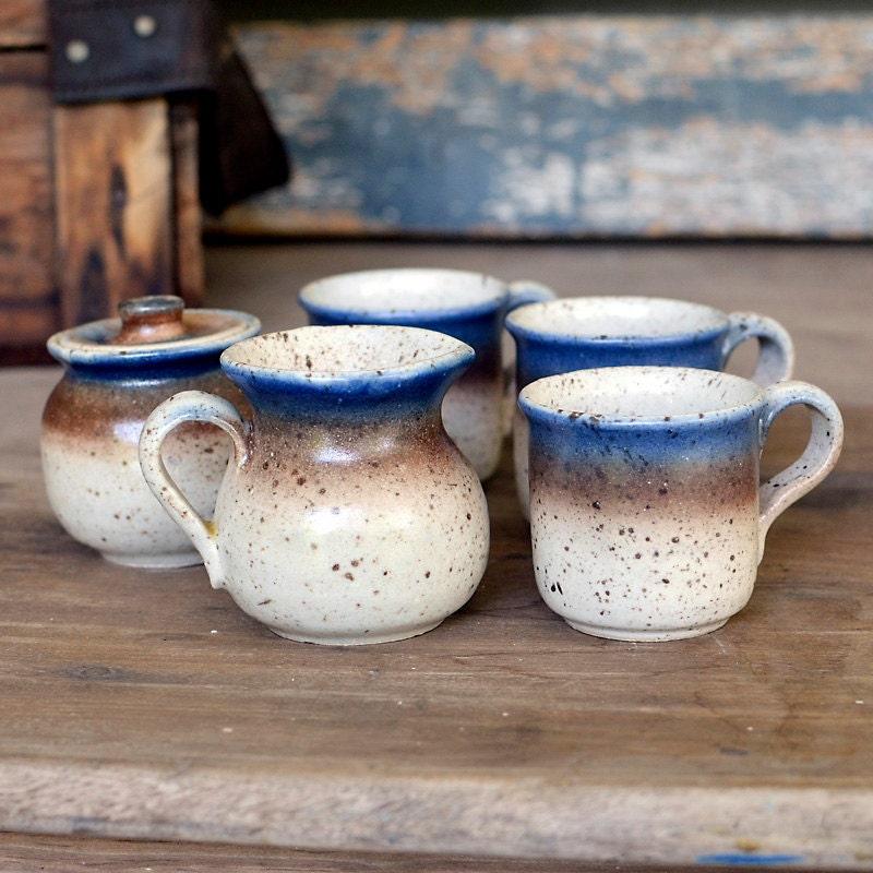 Demitasse Coffee Or Tea Cups Creamer Amp Sugar Set Rustic