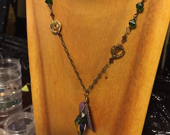 Colors of Spring Necklace - Vintage Brass w/ Patina and Swarovski focal