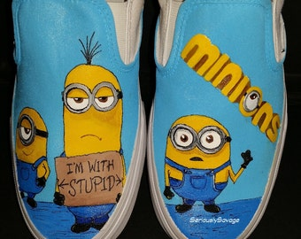 New Minion Movie Custom Painted Shoes Stuart Kevin and Bob. I'm With Stupid. Fun Converse, Vans or Toms for Men Women and Children