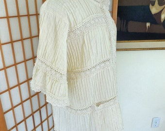 Vintage 70s Pin Tuck and Lace Mexican Top Button Up with 3/4 Sleeves by Herrera of Mexico