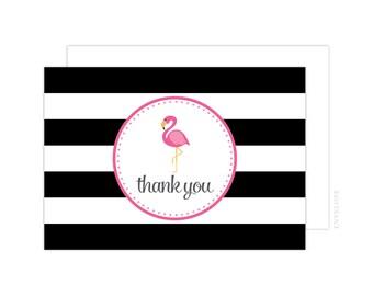 Pink Flamingo Thank You Cards (Pink Flamingo Folded Note Card, Baby Shower Thank You, Pink Flamingo Notecard, Black)