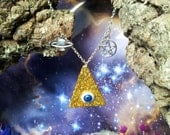 All seeing eye glitter pyramid cosmic necklace