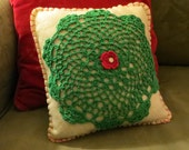 Primitive or Cottage Chic Felt Handmade Christmas Pillow with Doily, OFG, FAAP, Christmas Decor, Christmas Pillow, cij faap
