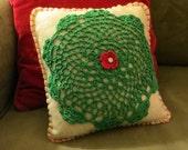 Primitive or Cottage Chic Felt Handmade Christmas Pillow with Doily, OFG, FAAP, Christmas Decor, Christmas Pillow, cij faap