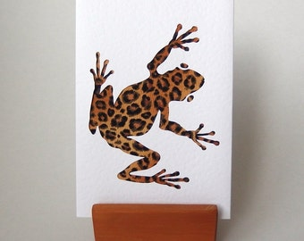 """Wild Frog Fabric Card 6"""" x 4"""" with envelope.  Blank for any occasion. Funky Frog. Hop Hop. Leopard print fabric. brown frog"""