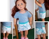 18 inch Doll Skorts, American Girl Style doll skirted shorts, pink & blue floral doll Skorts; Item S-4654-18-DSK-07