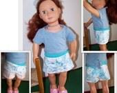 18 inch Doll Skorts, American Girl Style doll skirted shorts, pink & blue floral doll Skorts; Item S-4654-18-DSK-07