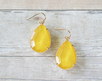 Sunshine Yellow Teardrop Earrings, Yellow Statement Earrings, Rhinestone Teardrop Earrings