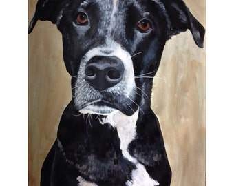 Custom Commissioned Pet Portrait or Animal Portrait Large Scale Original Painting by Natalie Wright