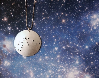 Aquarius zodiac constellation sterling necklace January 20 - February 18 astrology